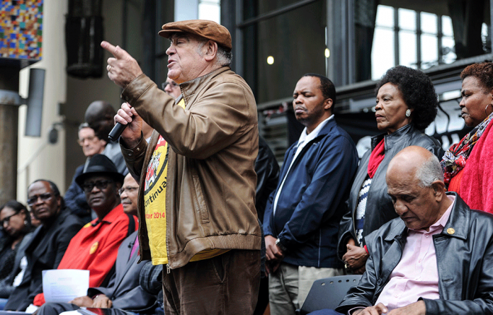 ANC stalwart Ronnie Kasrils speaks during a gathering of civil society leading lights