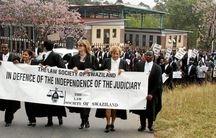 Members of the Law Society of Swaziland march in protest.