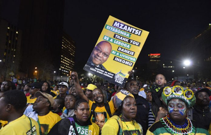 Thousands flocked to the Library Gardens in Johannesburg on Saturday night to celebrate the ANC's election victory.
