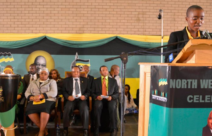 Thuthukile Zuma speaking at an ANC function in 2012.