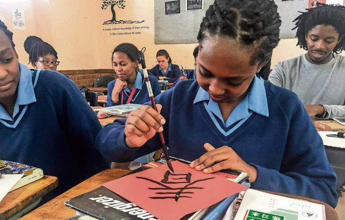 Partnership: Grade nine pupil Mathudi Ralekhetho and her colleagues
