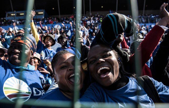 DA supporters celebrate in Nelson Mandela Bay.