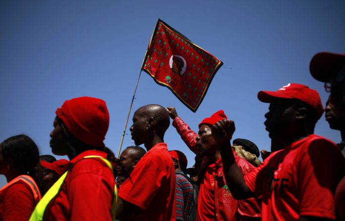 Noisy theatrics: EFF members protest outside the Zondo commission last week. Sisonke Msimang writes that part of the blame for the state of social media discourse belongs to the Zunami