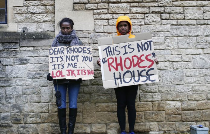 Legacy: Oxford students protest outside Rhodes House