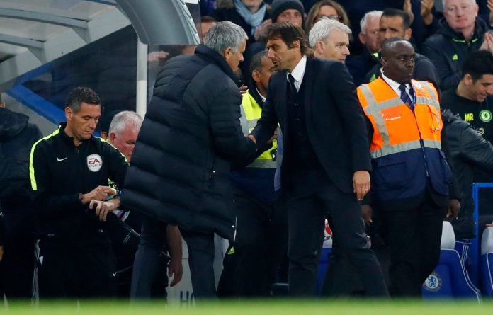 Chelsea manager Antonio Conte and Manchester United manager Jose Mourinho at the end of their match earlier this season.