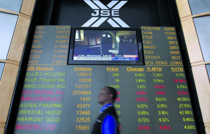 A stock quotation board at the Johannesburg stock exchange.