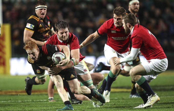 No way through: The Lions used their strong defence to tame the Chiefs and will be hoping to do the same against the All Blacks this weekend.