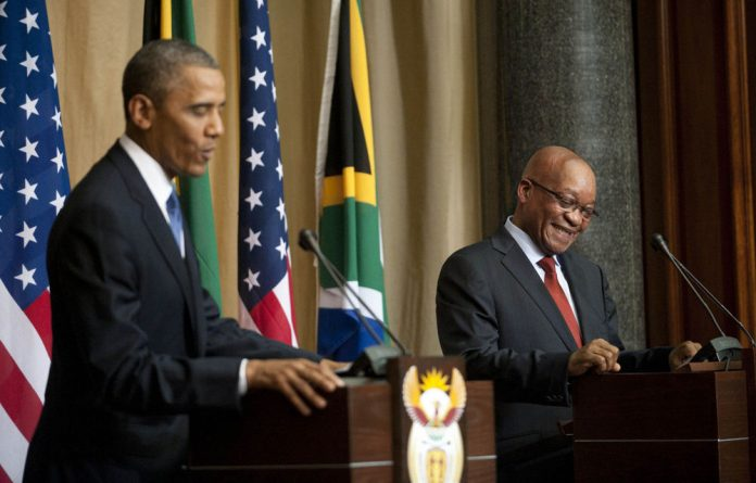 Barack Obama and Jacob Zuma hold a joint press conference at the Union Buildings on Saturday.