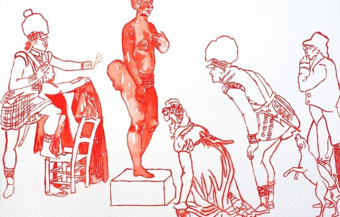 Exposed: Europeans' fascination with 'Hottentot Venus' Sarah Baartman is captured in Senzeni's works. Photo: Senzeni Marasela/Afronova Gallery