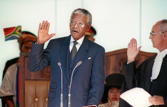 Nelson Mandela's inauguration as president of South Africa in 1994.