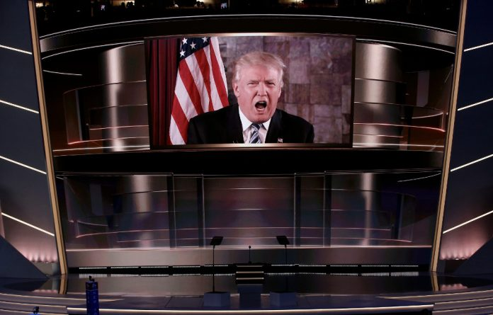 Republican US presidential nominee Donald Trump speaks live via satellite from Trump Tower in New York City during the second session at the Republican National Convention in Cleveland