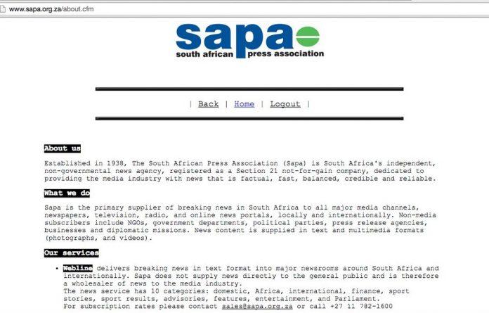 Sapa's homepage.