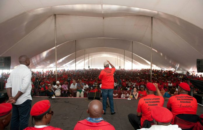 Julius Malema was addressing thousands of EFF followers at the Langa High School