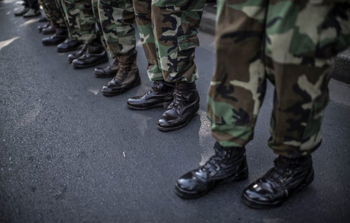 Patriotic: MKMVA soldiers on parade.