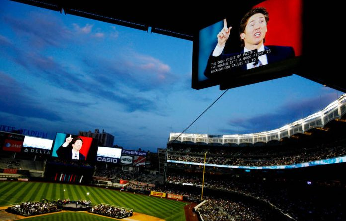 Evangelist Joel Osteen preached at Yankee Stadium in New York that 'God wants you to buy a house'.