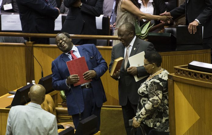 Julius Malema and his two co-accused On-Point Engineering directors Lesiba Gwangwa and Kagisho Dichabe face charges of racketeering and 52 other counts