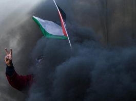 A protester holds a Palestinian flag as smoke rises from a burning tyre during clashes with Israeli troops at a protest on the 12th anniversary of a campaign against the Israeli barrier in the West Bank earlier this month.