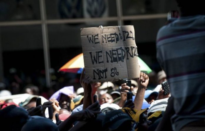 South African Transport and Allied Workers Union members demanded an 8% wage increase. The 2018-2019 salary bill for public servants is 50% of all government revenue.