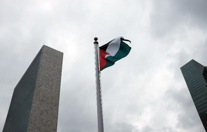 The Palestinian flag flies for the first time at the United Nations headquarters after it was raised in a ceremony on Wednesday.