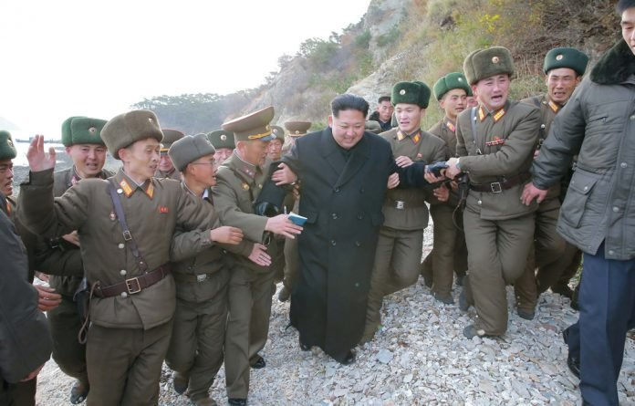 North Korean leader Kim Jong Un is inspecting the defence detachment on Mahap Islet in the western sector.