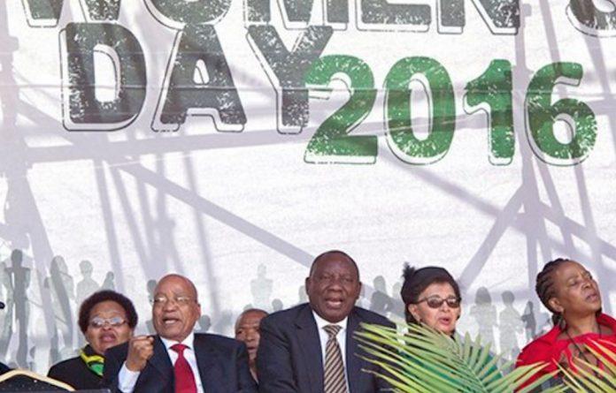 Jacob Zuma and Cyril Ramaphosa during Women's Day celebrations 2016.
