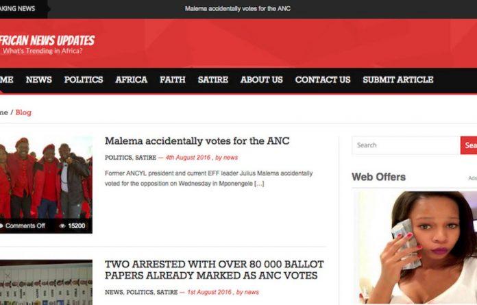 A screenshot from African News Updates