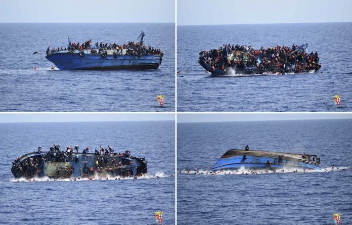 Tipping point: Refugees off the cast of Libya were photographed falling off their vessel as they rushed to one side after they spotted a rescue ship. More than 550 people were pulled to safety and five bodies were recovered.