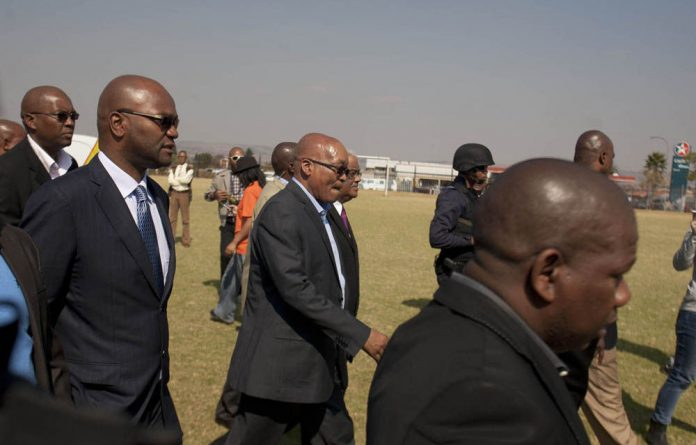 Jacob Zuma was accompanied by Police Minister Nathi Mthethwa