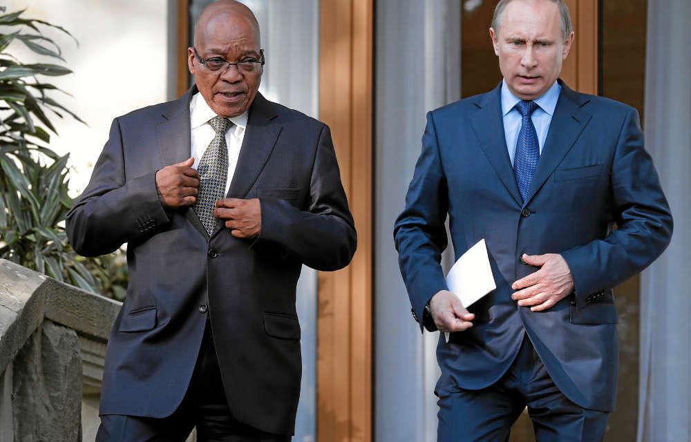 Presidents Zuma and Putin.