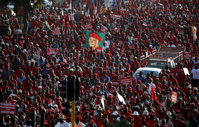 Red light: The Economic Freedom Fighters marched to the JSE with a list of 17 demands.