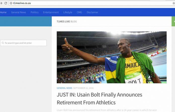 Screenshot of a fake news website.