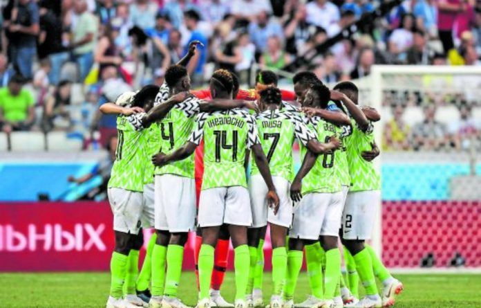 Nigeria's players prepare for the game against Iceland in Volgograd