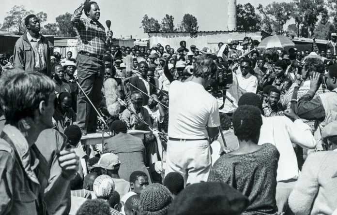 Chris Hani speaks to a crowd in Katlehong on the East Rand in the early 1990s when the area was wracked with violence between Inkatha Freedom Party