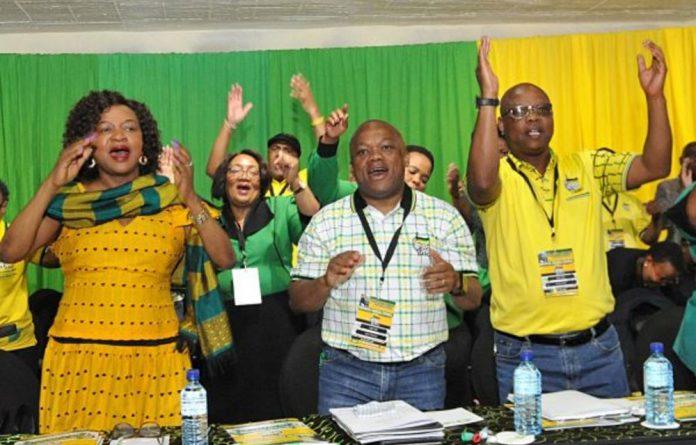 Baleka Mbete with KwaZulu-Natal officials Sihle Zikalala