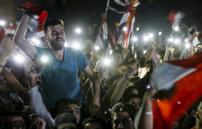 Elated Syrian football fans