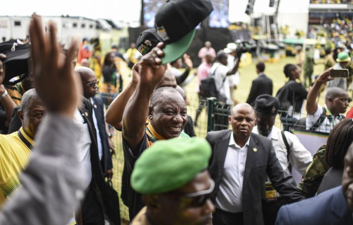 Doubt: Cyril Ramaphosa's tour in rural areas saw him pandering to unelected leaders and his touting of land expropriation at the ANC's 106th anniversary is a result of pressure