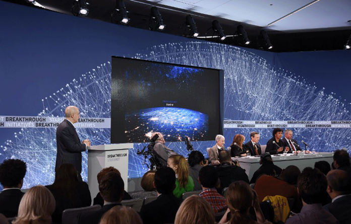 Yuri Milner and Stephen Hawking announce Breakthrough Starshot - a new space exploration initiative - on April 12 2016.