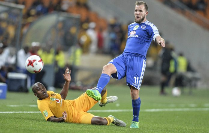 Stress test: Willard Katsande and Jeremy Brockie in the Nedbank Cup quarterfinal between SuperSport United and Kaiser Chiefs in April