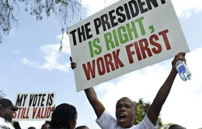Demonstrators march towards Parliament in the Kenyan capital Nairobi on May 14 2013