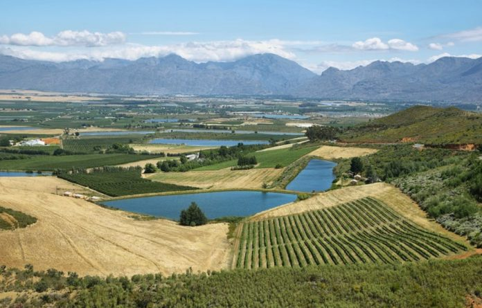 Lagoons and vineyards from Gydo Pass in the Western Cape. Water is crucial for such commodities.