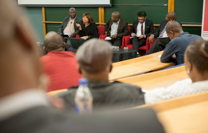 The panel at the M&G Post-elections Critical Thinking Forum: Moderator Ralph Matheka