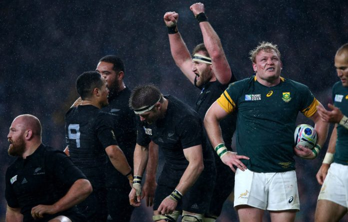 Same again in 2019? The All Blacks celebrate winning the 2015 Rugby World Cup semifinal match against the Springboks. The two teams will meet in the pool stage of the 2019 World Cup.