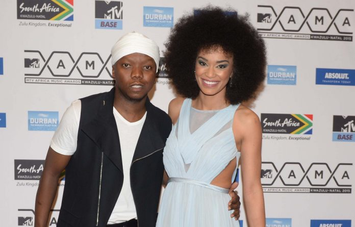 Radio personalities Tbo Touch and Pearl Thusi on the MTV Mamas red carpet.
