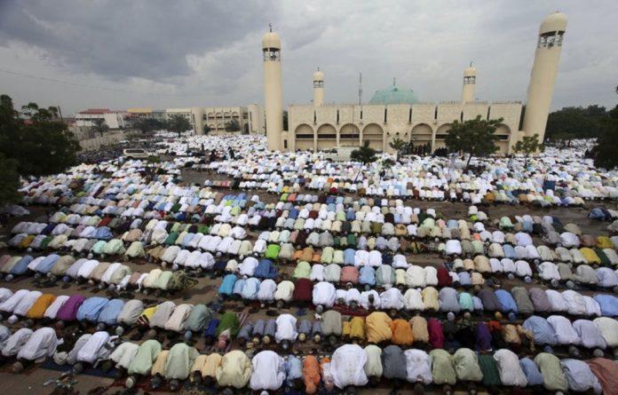 Muslims pray at the Kofar Mata Central Mosque in Kano
