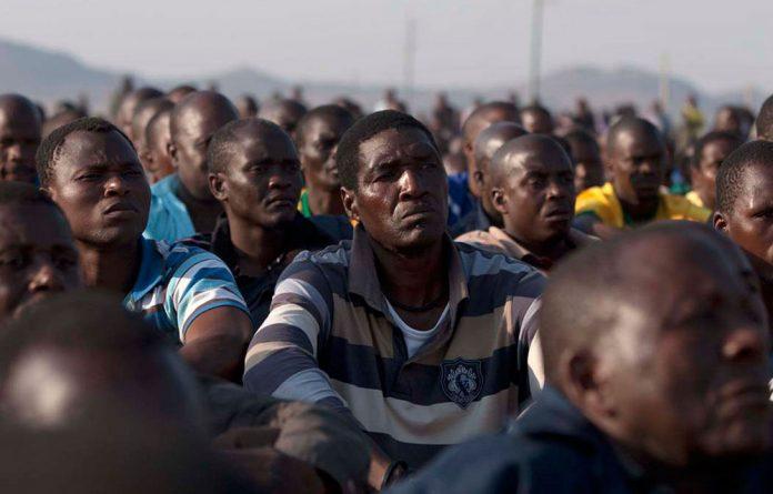 Striking workers at Lonmin's Marikana mine.