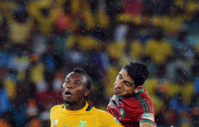 May Mahlangu in action against Morocco at Afcon 2013.