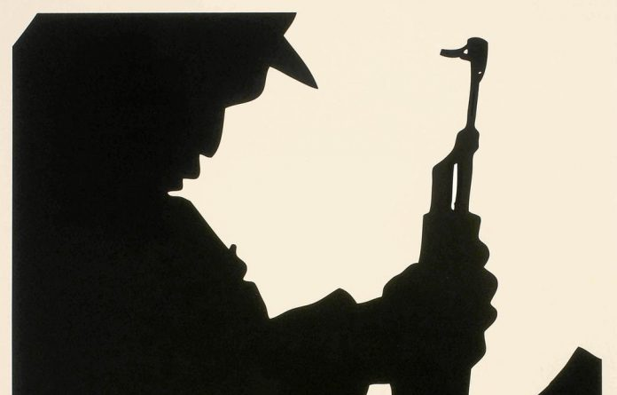 A silkscreen graphic of a silhouetted figure with AK-47 that forms the backdrop to a refashioned quote by executed Umkhonto weSizwe cadre Solomon Mahlangu.