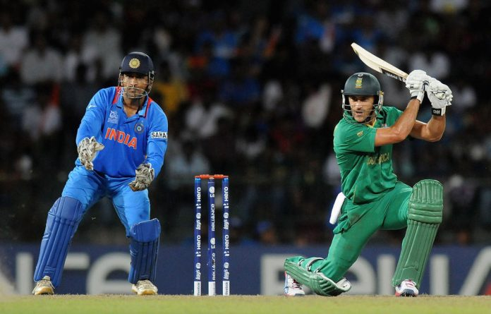 Faf Du Plessis of South Africa bats during the ICC World Twenty20 Super Eights match between South Africa and India.