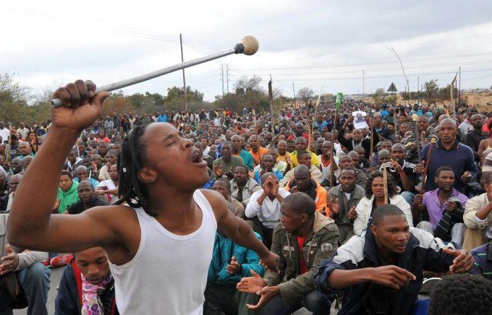 Striking miners at Lonmin's Marikana mine.