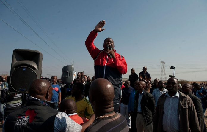 Expelled ANC Youth League leader Julius Malema addresses Marikana residents in the wake of the Lonmin massacre.
